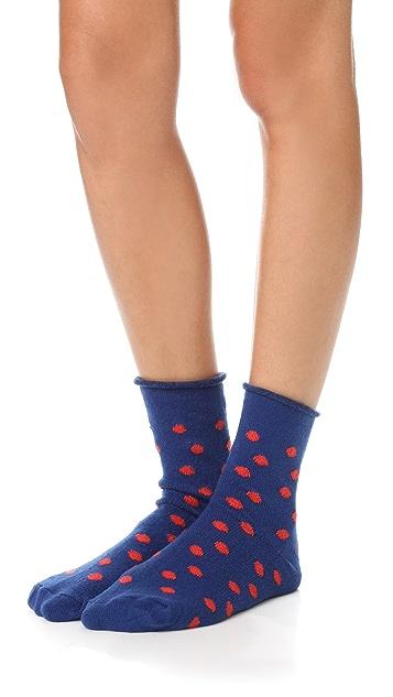 Plush Thin Rolled Fleece Polka Dot Socks