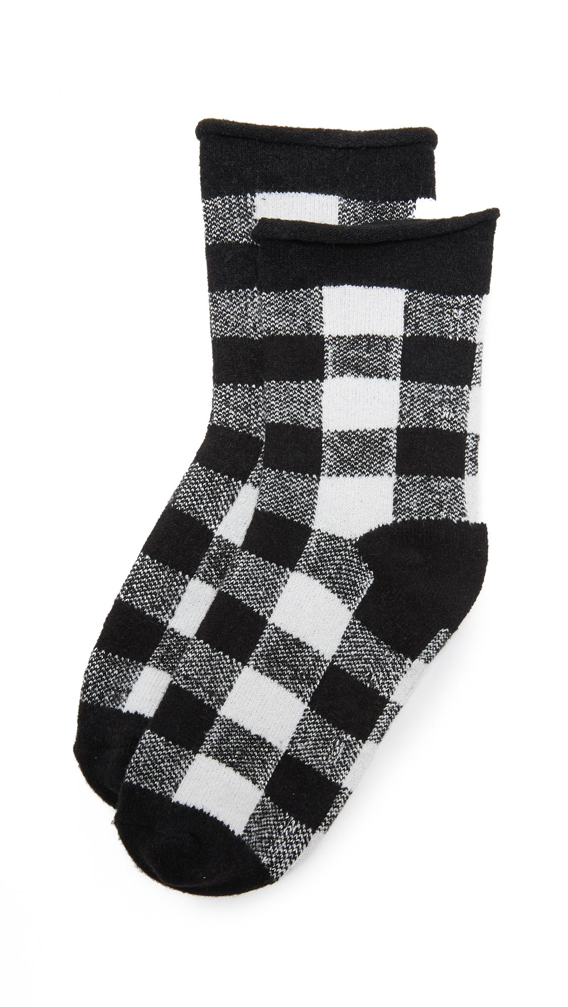 Plush Rolled Fleece Plaid Socks