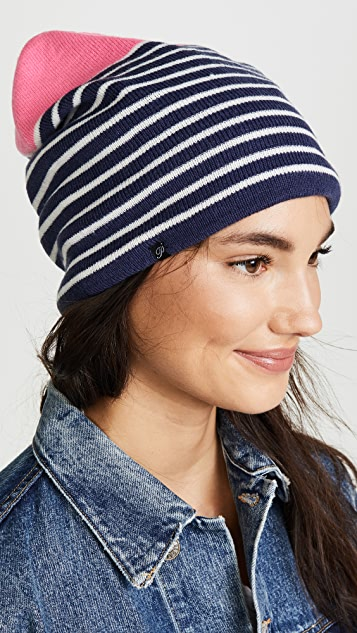 Plush Fleece Lined Striped Beanie Hat