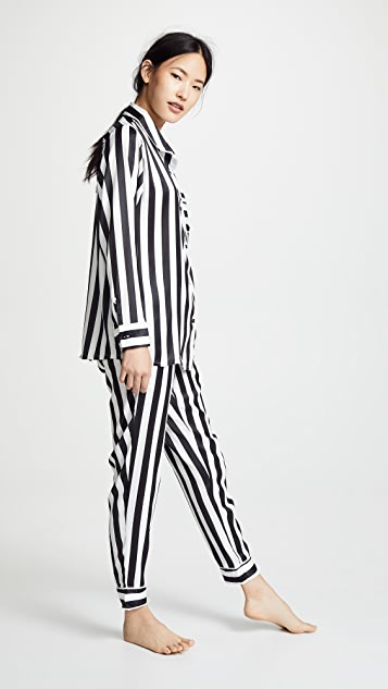 Plush Silky Striped PJ Set