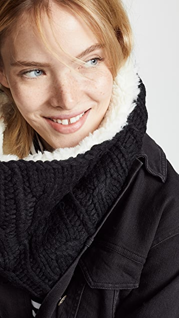 Plush Sherpa Cable Knit Neck Warmer