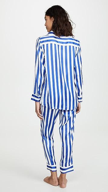 Plush 钴蓝色条纹睡衣套装