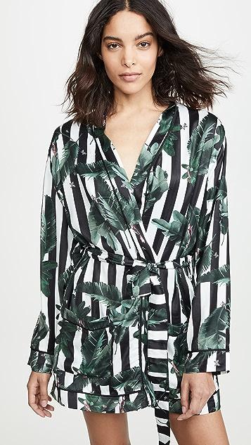 Plush 黑色条纹丛林印花礼服