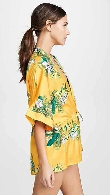 Plush Drawstring Palm Kimono