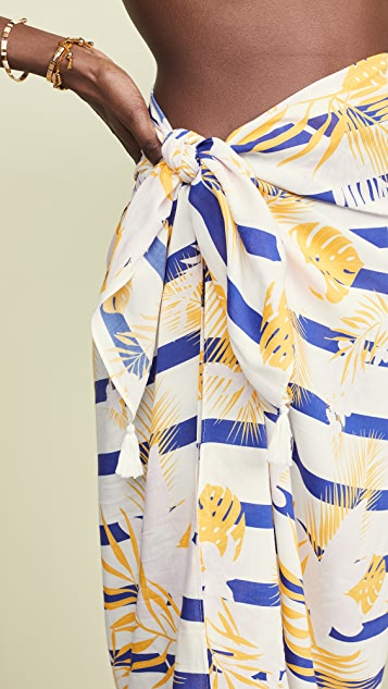 Plush 条纹棕榈树包布裙罩层