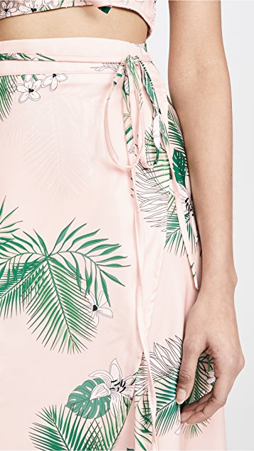 Plush Palm Maxi Wrap Skirt