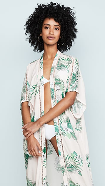 Plush Maxi Palm Kimono