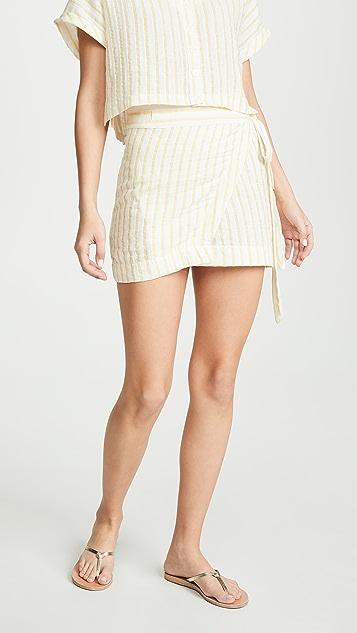 Plush 条纹亚麻裹身半身裙