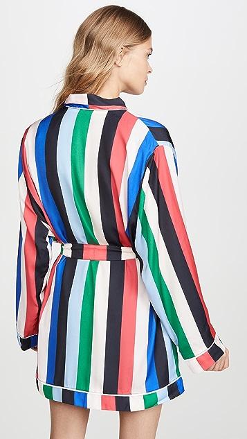 Plush 彩虹色条纹长袍搭配发带套装