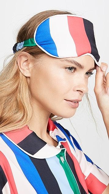 Plush 彩虹色条纹睡衣套装搭配眼罩