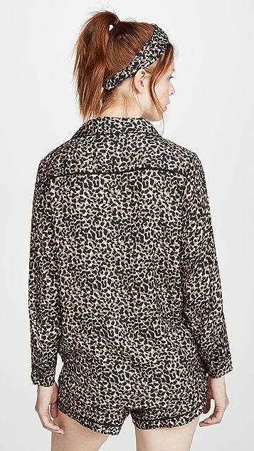 Plush 发带豹纹睡衣套装