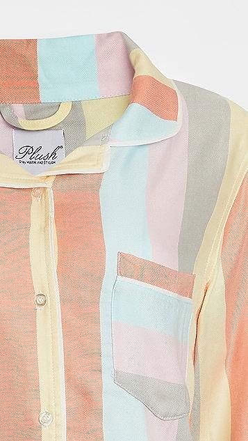 毛绒 超柔软彩虹条纹睡衣套装