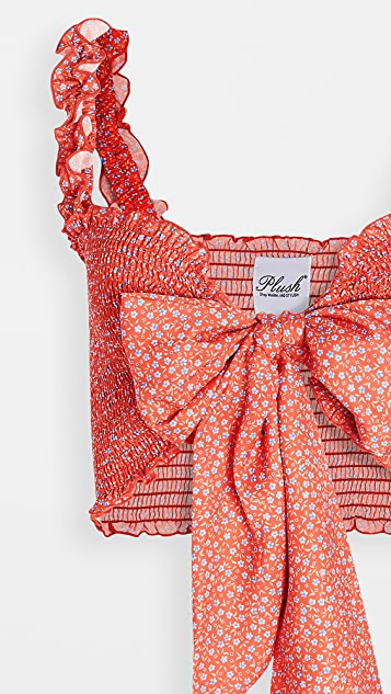Plush Floral Smocked Bralette Top