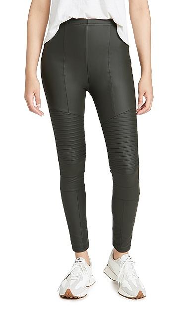 毛绒设计 绒布衬里机车风格贴腿裤