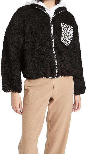 毛绒设计 豹纹绒布夹克