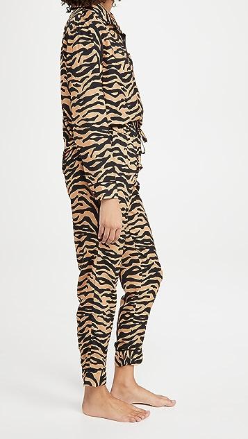 Plush Silky Tiger Pajama + Eyemask Set