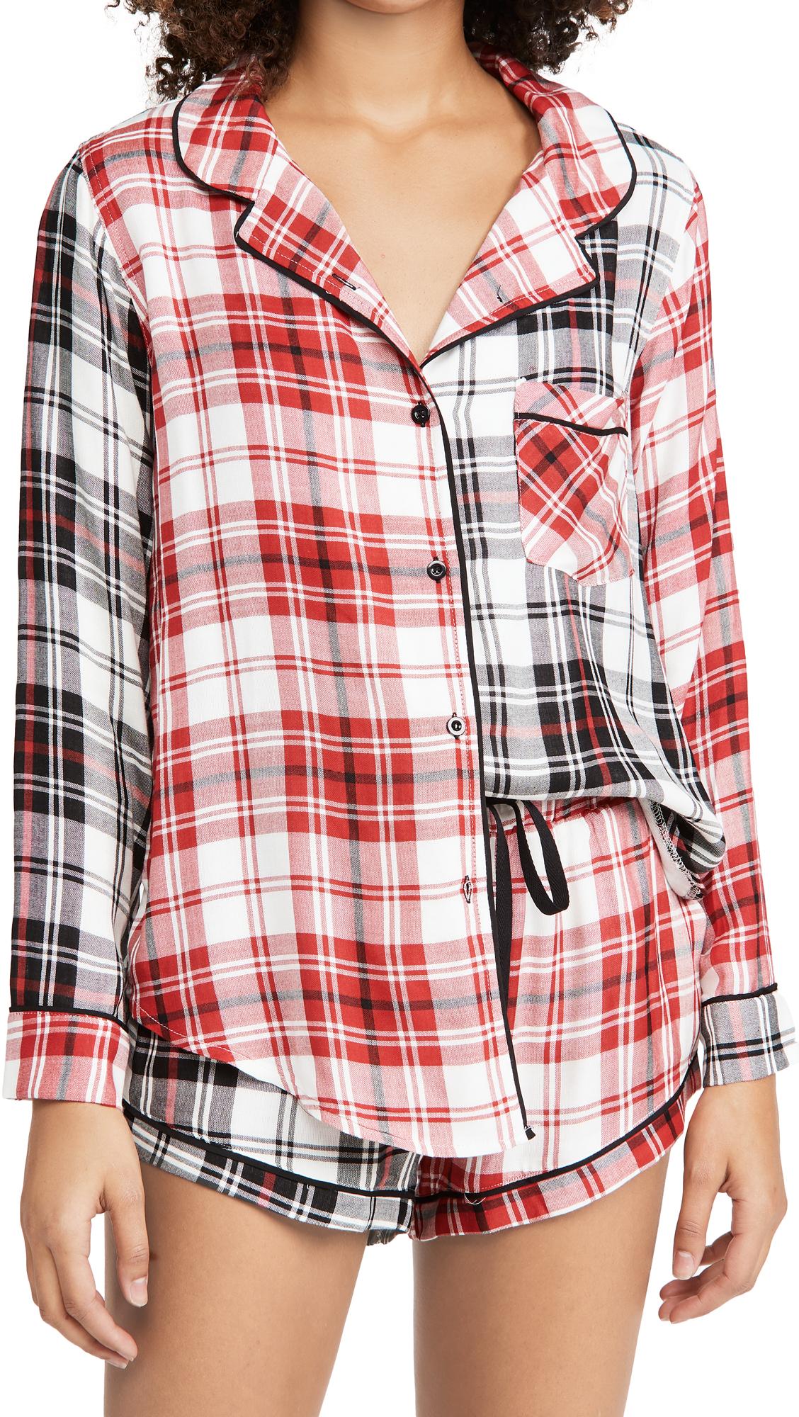 Plush Woven Plaid Patchwork PJ + Scrunchie Set