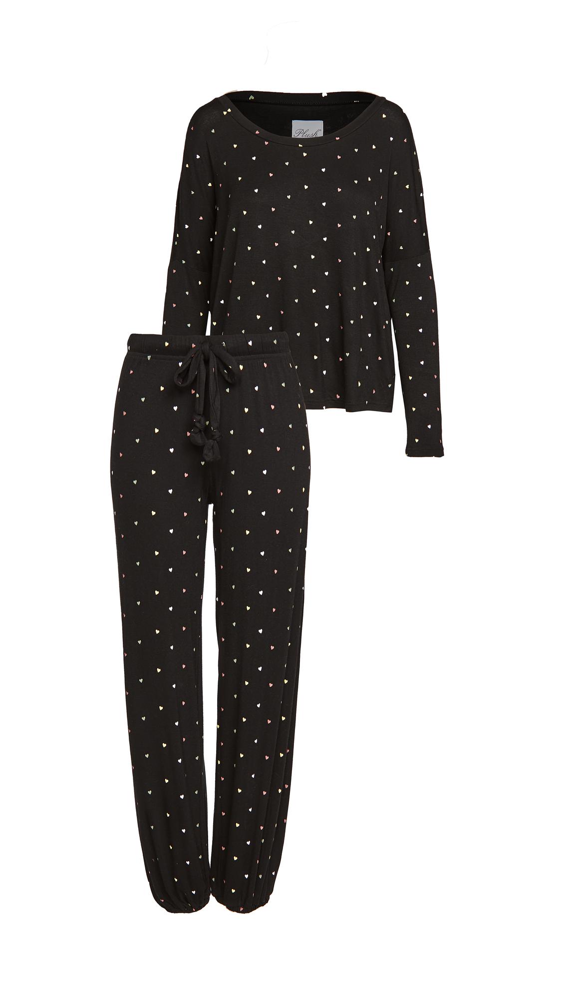 Plush Ultra Soft Heart Jersey PJ + Scrunchie Set