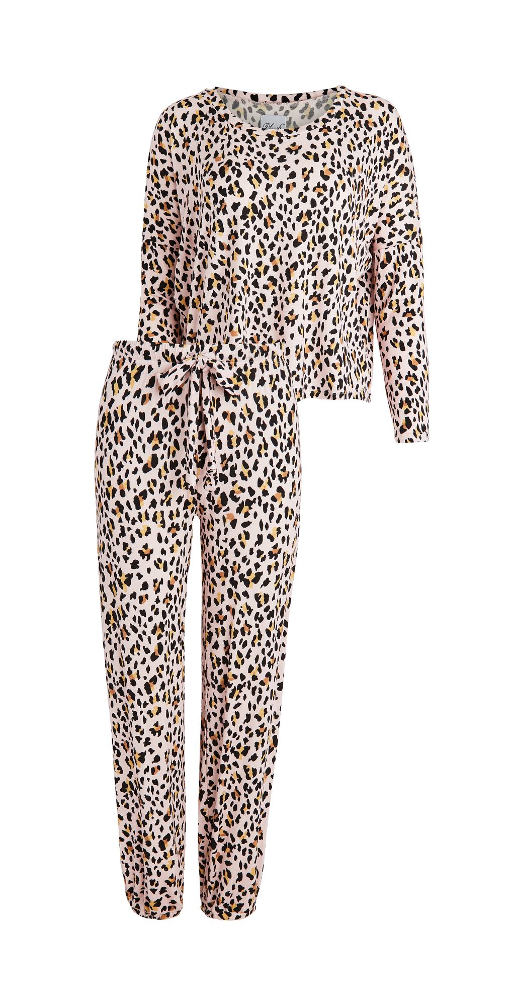 Plush Ultra Soft Cheetah Jersey PJ Set + Scrunchie