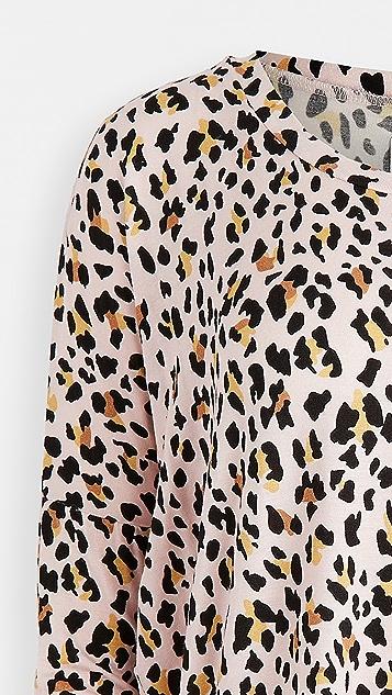 毛绒设计 超柔软豹纹平纹针织面料睡衣套装 + 发带