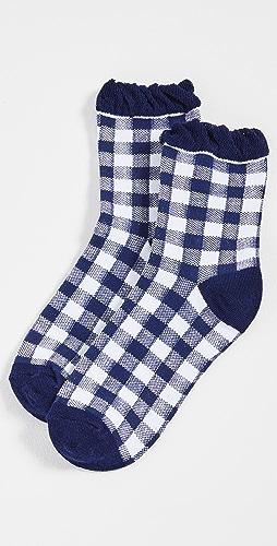 Plush - Blue Gingham Socks