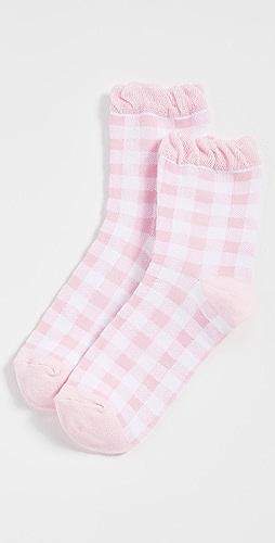 Plush - Pink Gingham Socks