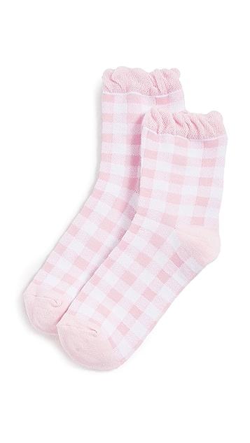 Plush Pink Gingham Socks