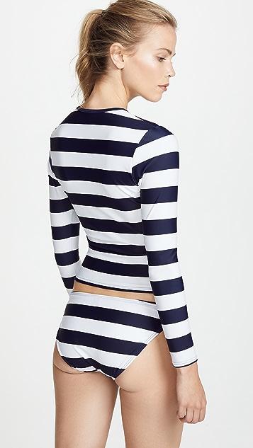 Perfect Moment Stripe Rash Guard Bikini