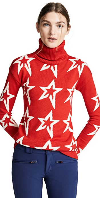 Perfect Moment Star Dust Sweater - Red/Snow White Star
