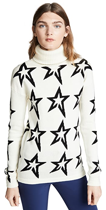 Perfect Moment Star Dust Wool Sweater - Snow White/Black Star