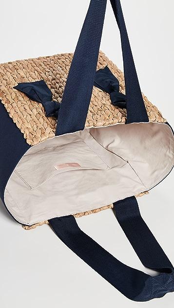 PAMELA MUNSON Миниатюрная объемная сумка с короткими ручками Isla Bahia из комбинированных материалов