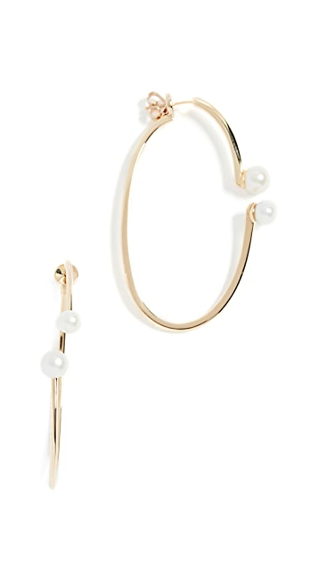 Paige Novick 18k Gold Hoop Earrings with Freshwater Cultured Pearls