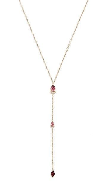 Paige Novick 18k Lariat Necklace with Diamonds & Pink Tourmaline