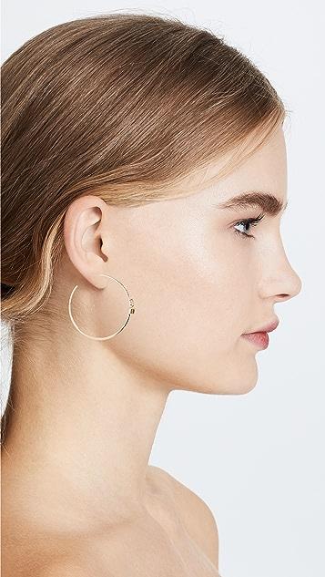 Paige Novick 18k Gold Large Open Hoop Earrings with Gemstone Details