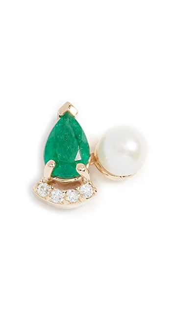 Paige Novick Diamond & Emerald 18k Earrings with Cultured Freshwater Pearl