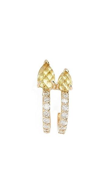 Paige Novick Diamond & Peridot 18k Huggie Stud Earring