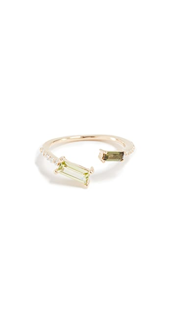 Paige Novick Peridot & Tourmaline 18k Gold Ring