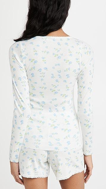英格兰圆点花纹 Val 贴合版型上衣和短裤套装