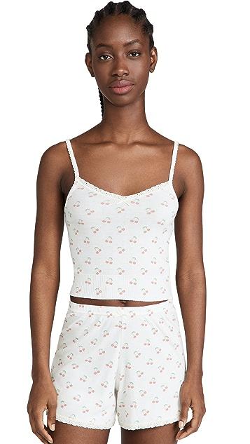 英格兰圆点花纹 Liz 短版吊带背心 + 高腰短裤套装