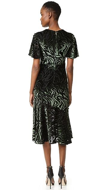 Prabal Gurung Short Sleeve Flared Skirt Dress with Side Slits