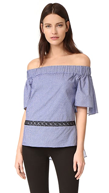 Prabal Gurung Off Shoulder Tiered Ruffle Blouse