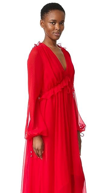 Prabal Gurung Long Sleeve Flounce Dress
