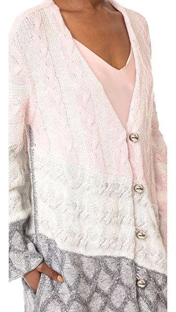 Prabal Gurung Curved Sleeve Cable Cardigan