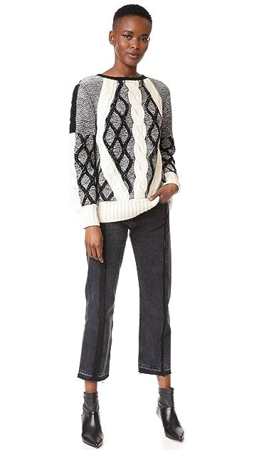 Prabal Gurung Cable Crew Neck Knit Sweater