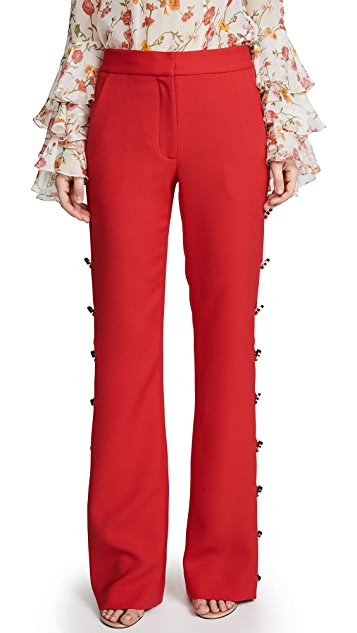 Prabal Gurung Classic Boot Leg Pants with Button Detail