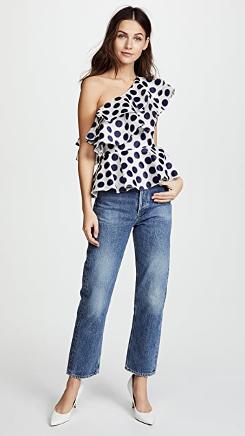 Prabal Gurung Polka Dot One Shoulder Top