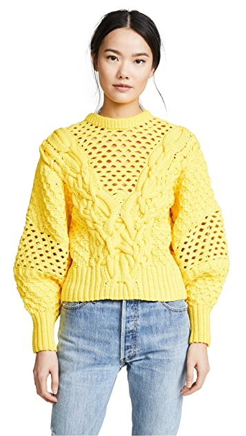Prabal Gurung Claire V Neck Panel Knit Top