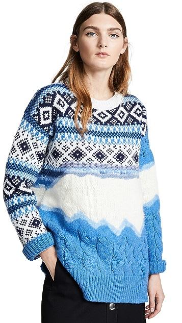 Prabal Gurung Ehe Cable Crew Neck Wool Sweater
