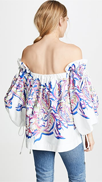 Prabal Gurung Off the Shoulder Blouson Sleeve Top