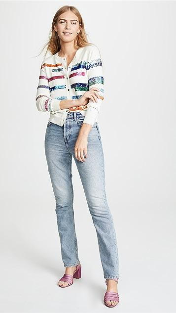 Prabal Gurung Rainbow Stripe Cashmere Cardigan